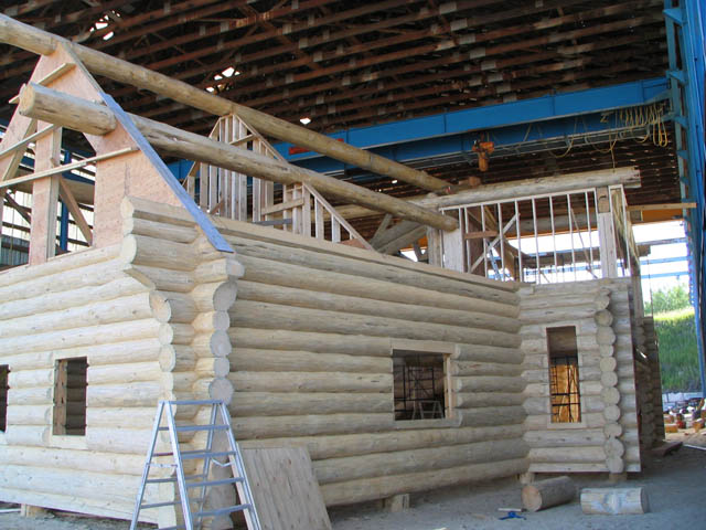 BC Canada House being built in the Sitka Log Homes construction yard in 100 Mile House, BC.