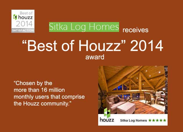 Sitka Log Homes wins Best of Houzz 2014 award