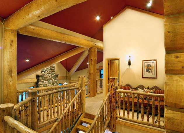handcrafted log house interior