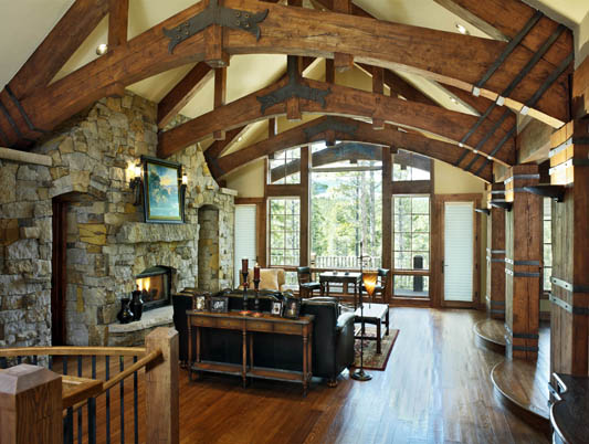 Hybrid log homes and timber homes for Hybrid timber frame home plans