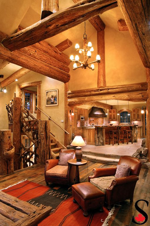 Log staircase and log trusses