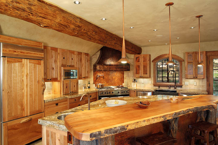 Log House Kitchen Design Ideas ~ Counter top for log cabin kitchen home design and decor