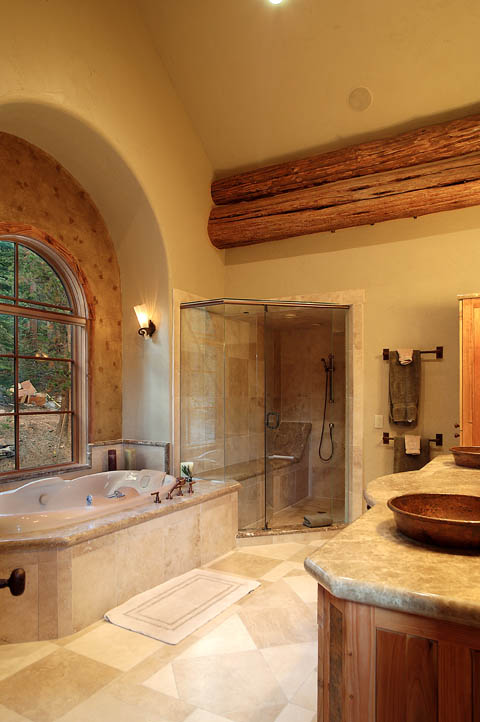 Log home pictures timber frame photos for Log cabin bathroom pictures