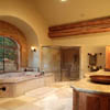 bathroom in log home