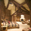 dark stained log rafters and log trusses and adobe fireplace in bedroom