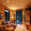 large windows in log cabin