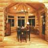 hexagon shaped dining room in log house