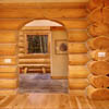 arched log home doorway