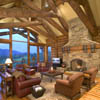 log trusses and stone fireplace in log home