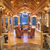 log home trusses through great room