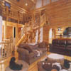 log staircase with log handrails and spindles