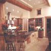 kitchen with island in log house