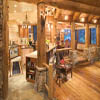 log home kitchen with bar