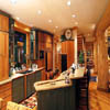 gourmet kitchen in log house