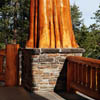 picture of cedar log and stone work