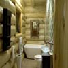 bathroom of small log home