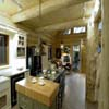 kitchen with island in log house display