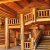 handcrafted log staircase and log railings