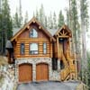 log home with stone work