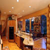Kitchen in handcrafted log house