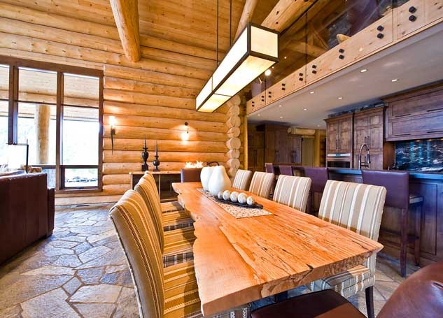 handcrafted log house dining room