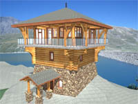 Beautiful Log Home Plan   Lone Tower