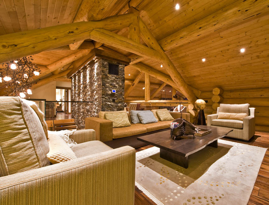 Log home handcrafted on ranch acreage british columbia for Modern log house