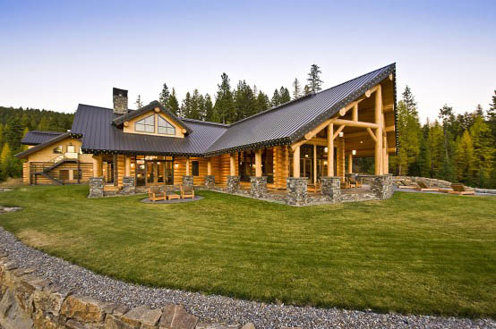 Log home pictures timber frame photos for Ranch style timber frame homes