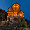 Back view of log home at Sun Peaks Resort, BC