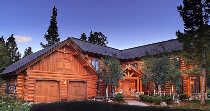 Exterior photos of log homes and timber homes