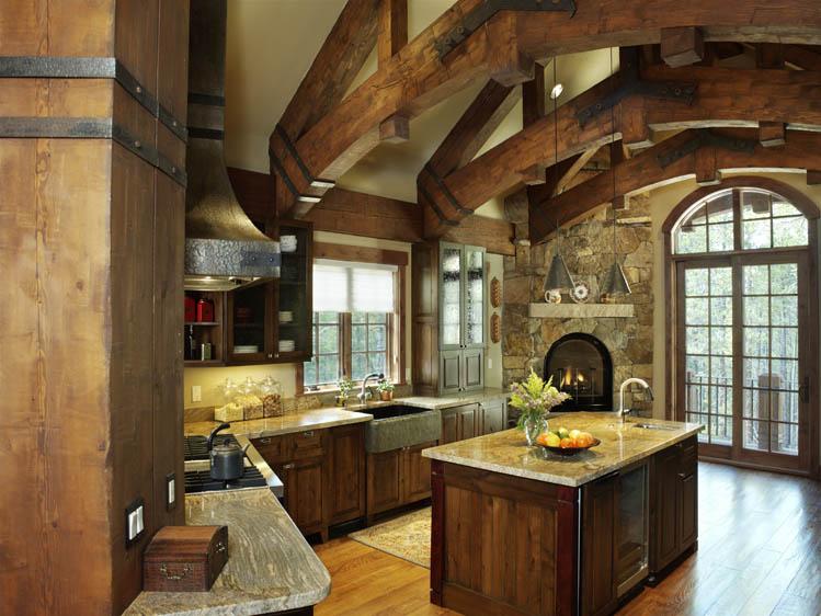 Timber frame home construction for A frame house kitchen design